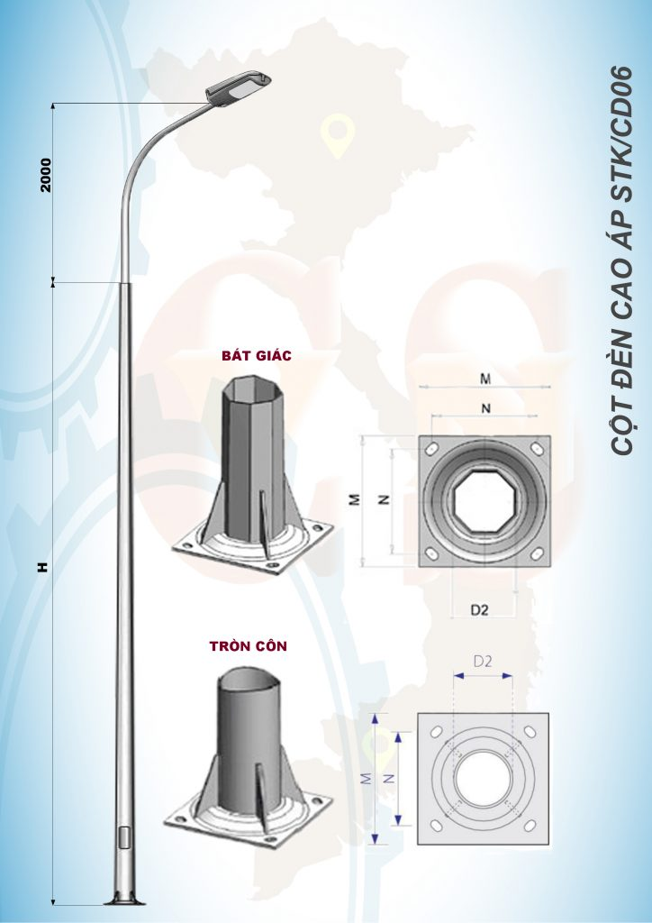 Cột đèn cao áp STK CD06 VNLICO